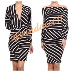 Geometric Striped Convertible Dress ❇️Bundle to save 15%❇️ Black & white striped pattern Dolman sleeves Long sleeved 94% Polyester, 6% Spandex  Super comfy! Size recommendations: S (4-6), M (8-10), L (12-14) Made in the USA CC Boutique  Dresses