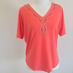 Perfect for Spring! Perfectly airy and breezy for spring/summer. Coral color. Plain back. NY Collection Tops Blouses
