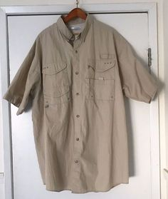 d8987c6797d Columbia PFG Short Sleeve Vented Fishing Shirt XLT Cotton/Polyester Beige # Columbia #ButtonFrontShirt