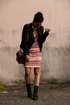 Black Blazer | Aztec Print Dress | Brown Shoulder Bag | Black Ankle Boots