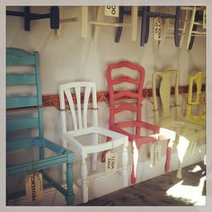Beautiful painted chairs. Would be great to have all different chairs at your dining room table.