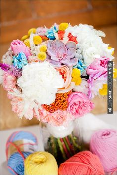 Super crazy for this bright and colorful wedding bouquet by Sweet & Flower | VIA #WEDDINGPINS.NET