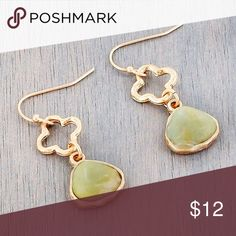 """*CLEARANCE* Quatrefoil and Amazonite Earrings Light mint green color Matching necklace listed in my closet.  These beautiful earrings will complement any outfit!   Worn Goldtone Faux Amazonite Stone 1.5"""" Fish Hook Style Earrings with 1.25"""" Drop Jewelry Earrings"""