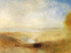 Turner - Landscape with Distant River and Bay   c. 1840-50; Oil on canvas, 94 x 124 cm