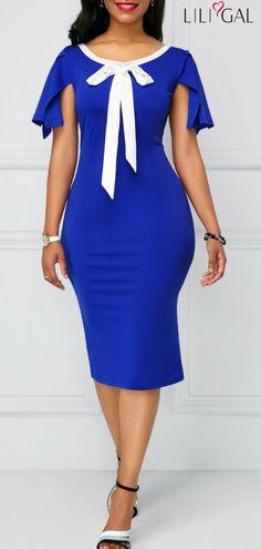 Bowknot Detail Cutout Back Royal Blue Sheath Dress   #liligal #dresses #womenswear #womensfashion