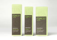 Packaging designed by Studio fnt for Innisfree's latest male grooming range Forest.