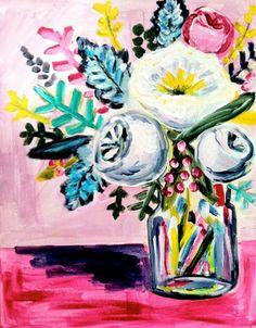 Flowers for the Adventurer, 11 x 14 Acrylic on Canvas, Evelyn Henson