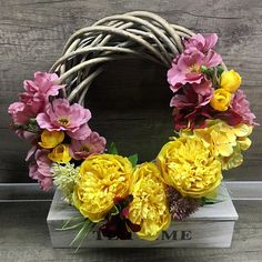 Items similar to Flower wreath floral arrangement on Etsy Floral Arrangements, Floral Wreath, Wreaths, Unique Jewelry, Handmade Gifts, Flowers, Etsy, Vintage, Home Decor