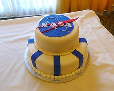 Like this, on a simple sheet cake but instead of NASA, we could say TREVOR? Alien Party, Astronaut Party, Birthday Cake For Him, Birthday Party Themes, 4th Birthday, Birthday Ideas, Nasa Party, Mini Cake Pans, Dad Cake