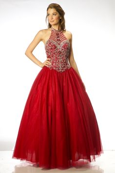 Beautiful Sleeveless Long Prom Dress FT10195  Solid color, elegant long prom dress, has halter neckline and open shoulders, without sleeves, decorated with beads and stones, also skirt lengt below knees reaches a floor.