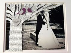 Unique First Anniversary Gift with Song Lyrics or Vows on Tree with YOUR PICTURE - FRAMED on Etsy, $60.00