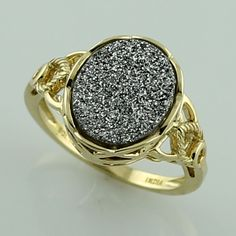 Platinum Drusy 3.96 Ct Top Ring 10K Yellow Gold Awesome Anniversary Jewelry #SGL #ExclusiveCollection