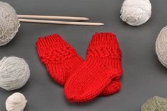 "Woolen Knitted Socks ""Red"" - I Crochet World Crochet World, American Girl, Knitting Patterns, Socks, Red, Fashion, Moda, Fashion Styles, Knitting Paterns"