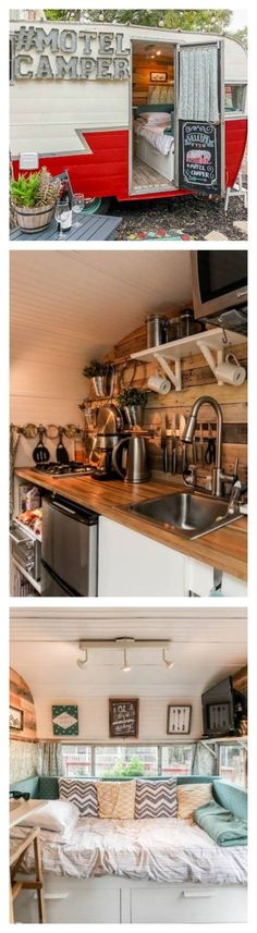 This retro, rustic camper is possibly the cutest motel in Austin, Texas. After restoration, this 1962 Vintage Beeline Camper has amenities like a fold out. Glamping, Vintage Caravans, Vintage Travel Trailers, Tiny Camper, Camper Van, Camping Con Glamour, Kombi Motorhome, Campervan Hire, Airstream Trailers