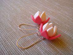 Jarní lotosové květy Náušnice z polymerové hmoty