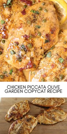 This Olive Garden Chicken Piccata copycat tastes as same as the original if not better.  Seared chicken breasts are topped with a lemon garlic butter sauce, sun-dried tomatoes, and capers. Serve with some green vegetables and a side of mashed potatoes for one seriously delicious meal! #easyrecipes #dinner #chickenrecipes #food #cooking #chicken #easy #recipes Olive Garden Chicken Piccata Recipe, Easy Chicken Recipes, Easy Recipes, Lemon Garlic Butter Sauce, Olive Garden Recipes, Olive Gardens, Dried Tomatoes, Sun Dried, Chicken Breasts