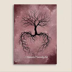 Pink Decor Winter Bare Tree Wall Art Print 5 x 7, Burgandy, Tree Roots, Heart, Natures Beauty