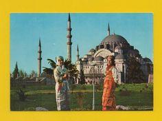 POSTCARD TURKEY ISTANBUL MOSQUE SOLIMAN & ethnic women TURQUIE 1960years
