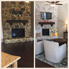 Brighten And Update Stone Brick Fireplaces By Gray Washing Them With Paint Modernize The