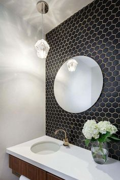 Small black and white bathroom white bathroom wall tiles small black hex tiles on the bathroom Hexagon Tile Bathroom, Bathroom Styling, Bathroom Wall Tile, White Tile Bathroom Walls, Contemporary Bathrooms, Bathroom Interior, Bathroom Decor, Tile Trends, Round Mirror Bathroom