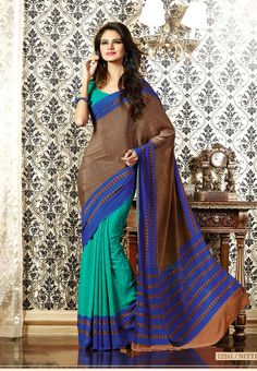 Brown with Green Colored Designed Semi Crepe Saree with Green Colored Blouse Part @ Rs.835 http://www.shreedevitextile.com/women/sarees/synthetic-fancy-sarees/shree-devi/brown-with-green-colored-semi-italian-crepe-saree-12251