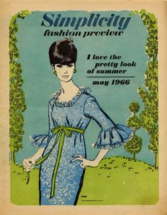 60s Simplicity Fashion Preview Magazine Cover summer dress illustration.