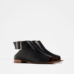 Image 2 of FLAT LEATHER BOOT-STYLE SANDALS from Zara