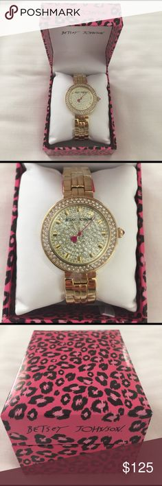 Betsy Johnson Gold Watch New with tags and in the box. Pink heart detail. Gorgeous piece. Betsey Johnson Accessories Watches