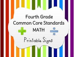 4th Grade Math Common Core Standards, Classroom Printable