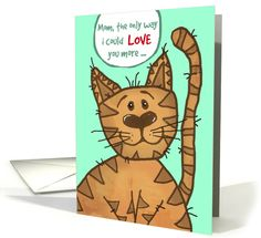 A little Mother's Day humor from the cat to the crazy cat lady! Personalize any greeting card for no additional cost! Cards are shipped the Next Business Day. Crazy Cat Lady, Crazy Cats, Cat With Blue Eyes, Mother's Day Greeting Cards, Dog Id, Animal Birthday, Fathers Day Cards, Cat Drawing, Holiday Cards