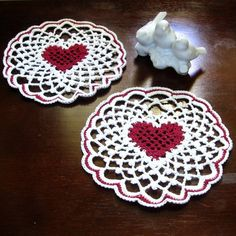 Crocheted Lace Heart Coaster Set of 2 ~~ Deep Red Heart inside White Irish Picot Lace ~~~ #Handmade by @rssdesignsfiber of RSS Designs In Fiber