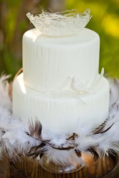 the ultimate bird-themed wedding cake? feathery base, tone-on-tone bird on branch and spun-sugar nest to top it off Pretty Wedding Cakes, Themed Wedding Cakes, Wedding Cake Designs, Wedding Themes, Wedding Ideas, Cake Wedding, Red Velvet Wedding Cake, Wedding Birds, Diy Wedding Decorations