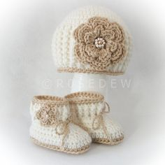 Crocheted ALPACA BLEND  Flower Hat and Booties Baby Girl Set in Ivory with Chamois Trim, 3M - 6M. $26.00, via Etsy.