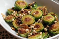 A Less Processed Life: What's On the Side: Pan-Browned Brussels Sprouts with Garlic and Pine Nuts