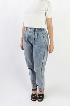 Vintage 80s Pleated Acid Wash Jeans | 28""