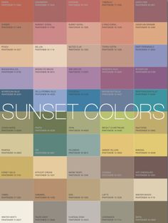 "SUNSET palette: Image via More Alive With Color: ""Based on these examples the Sunset's Signature Colors. would be golden tawny tones like Camel or Cognac. A coral pink necklace will brighten your skin and add a great accent. Fall Color Palette, Colour Pallette, Colour Schemes, Color Trends, Color Combos, Deco Nature, Soft Autumn, Sunset Colors, Soft Summer"