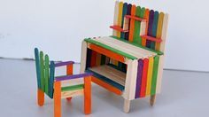 how to make miniature furniture. Popsicle Stick Crafts - How To Make Table And Chair | Miniature Furniture S