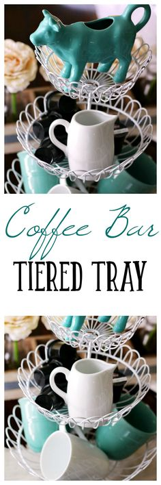 Create a fun Coffee Bar Tiered Tray! Start your morning off on a caffeinated note. Your kitchen's decor will get a boost with this tray!