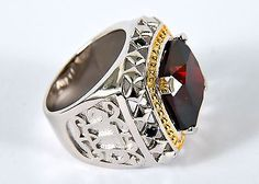 New Men's Clergy Apostle Ring, Sterling Silver, (SUBS166 S-R), Red