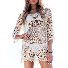Trendy Scoop Neck Hollow Out 3/4 Sleeve Lace Blouse For Women