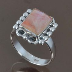 TEAL RAINBOW MOONSTONE 925 STERLING SILVER RING JEWELRY 4.62g DJR8932 SIZE-7 #Handmade #Ring