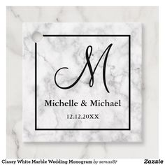Classy White Marble Wedding Monogram Favor Tags Monogram Bridal Showers, Monogram Wedding, Party Favor Tags, Wedding Favor Tags, Michelle Michaels, Brown Paper Packages, Sticker Shop, White Marble, Unique Weddings