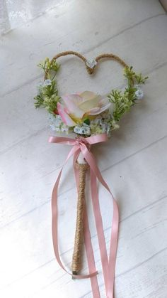 Pink Blush heart shape Rustic Wedding Wand Rose Gypsophila wildflowers Country wedding flower girl bridesmaid wand wedding bridesmaids This item is unavailable
