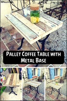 #Pallet Coffee Table With Metal Base | 99 Pallets