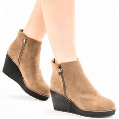 c732e102ccd Fastening Zip Heel Type Wedge Lining Synthetic Style Ankle boots Material Faux  Suede Occassion Fashion Casual Approx Heel Height 3 6 Boot Height 7 7