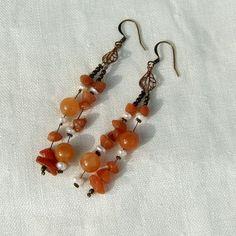 Soft orange adventurine womens earrings with antique by Mouflon, Handmade Jewelry, Unique Jewelry, Handmade Gifts, Womens Earrings, Antique Brass, Jewerly, Drop Earrings, Orange, Antiques