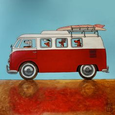 155 RED BUS  - signed and numbered piezoprint - volkswagen 14 x 14 cm / 5.5 x 5.5 inch