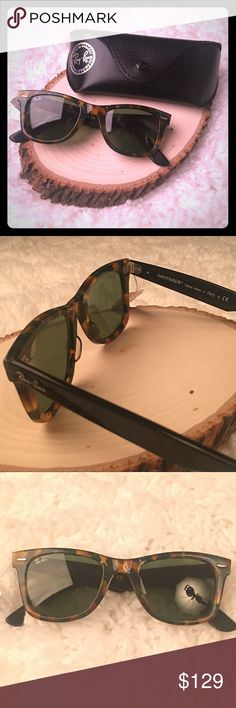 Ray-Ban Mother of Pearl Unisex Sunglasses NWOT New without tags (but with ray-ban black case)Hard to find style.  Mother of pearl tortoise frame.  Black stems.  Perfect condition. Square style plastic frame. Green polarized lens. 100% UV protection.  Lens 52 mm x bridge 18 mm x arms 145 mm. Ray-Ban Accessories Sunglasses