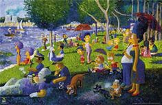 Simpsons Parody of Sunday Afternoon on the Island of La Grande Jatte - Georges Seurat, 1884 The Simpsons, Sunday Movies, Georges Seurat, Famous Artwork, Mural Painting, Paintings, Pointillism, Star Wars Art, Funny Art