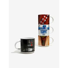 Star Wars Stacking Mug Set ($28) ❤ liked on Polyvore featuring home, kitchen & dining, drinkware, stackable mug set, star wars mug set, darth vader mug, yoda mug and star wars mug
